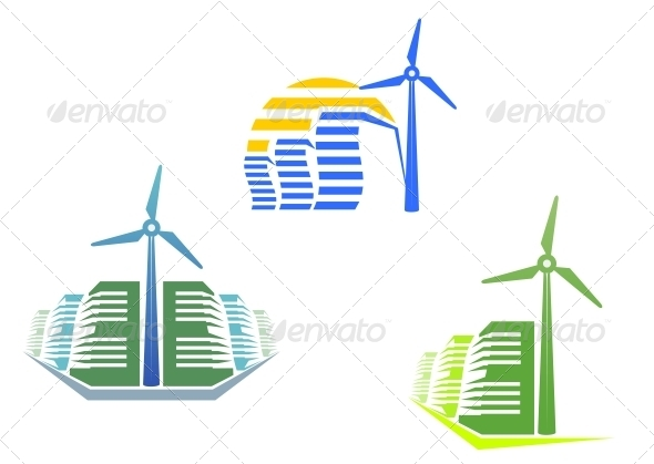 Houses with Wind Turbines - Miscellaneous Vectors