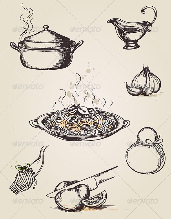 Vintage Hand Drawn Pasta - Food Objects