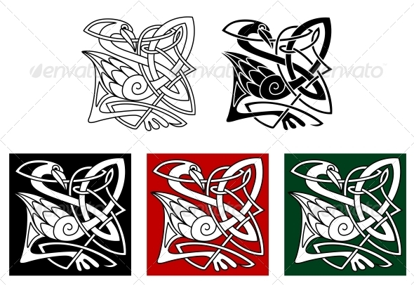 Heron Bird in Celtic Style - Animals Characters
