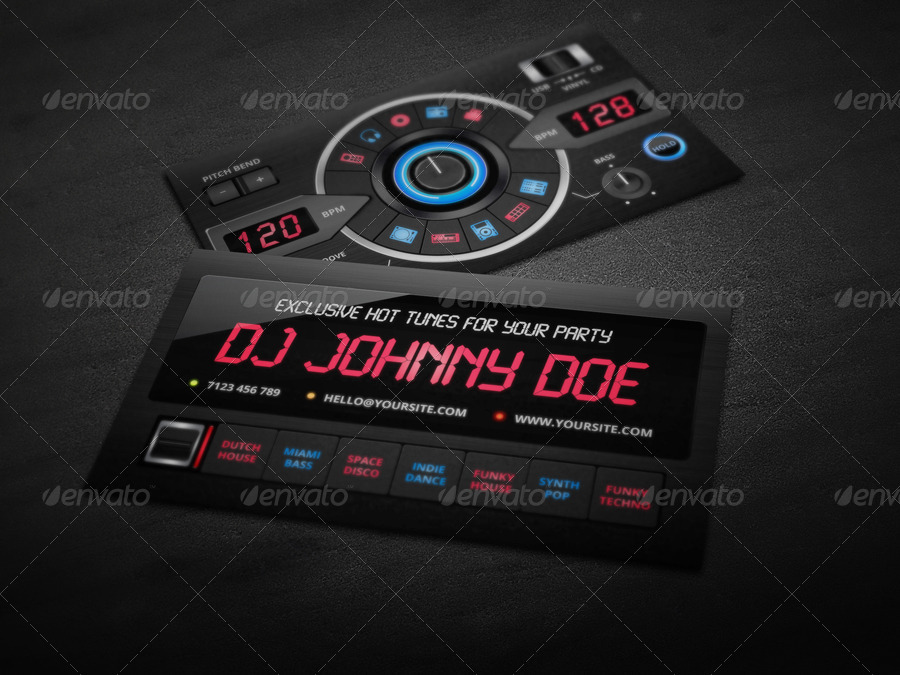 Dj business card template by vinyljunkie graphicriver dj business card template flashek