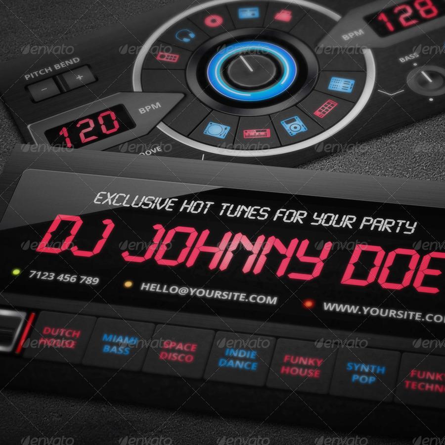 DJ Business Card Template by vinyljunkie GraphicRiver