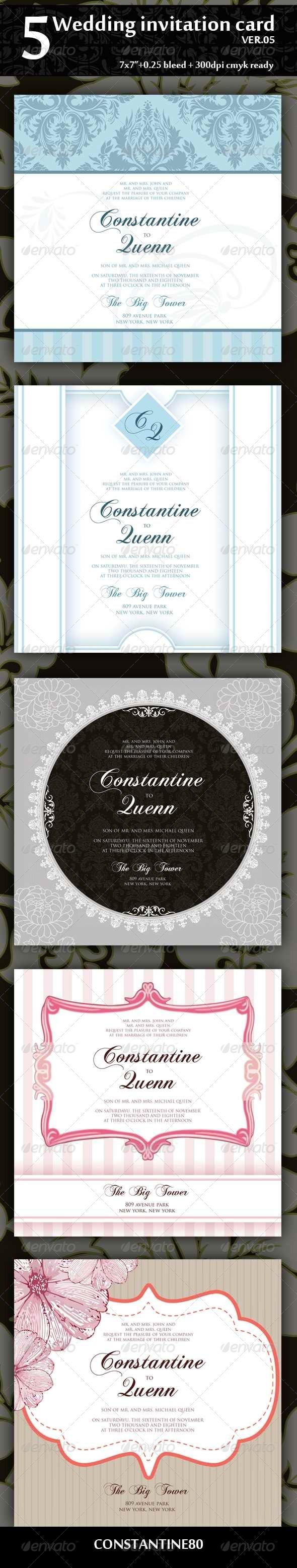 5 Wedding Invitation Card Ver05 - Weddings Cards & Invites