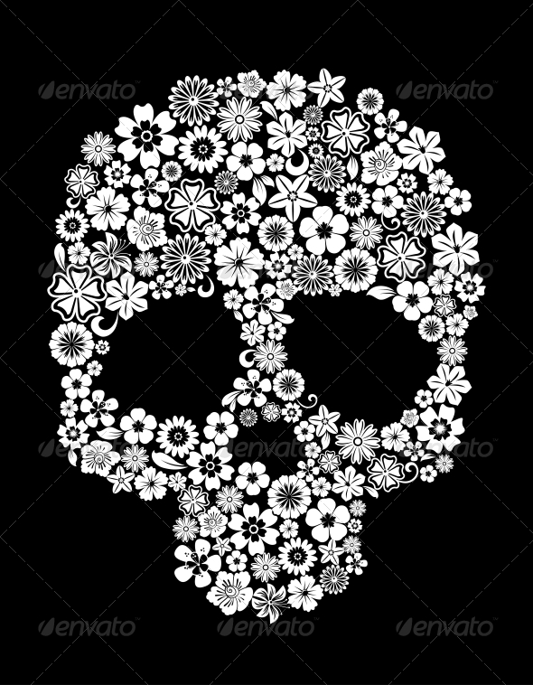 Human Skull in Floral Style - Halloween Seasons/Holidays