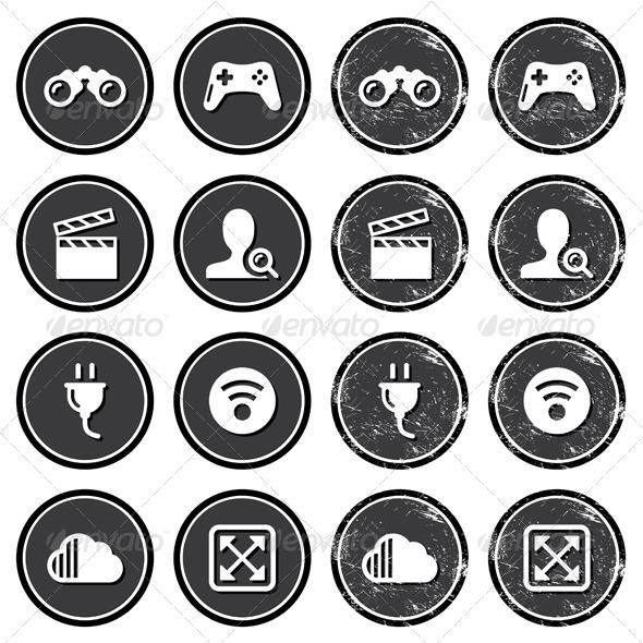 Retro Web Navigation Icons Set - Retro Technology
