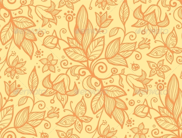 Abstract Ornate Flower Seamless Pattern - Flowers & Plants Nature