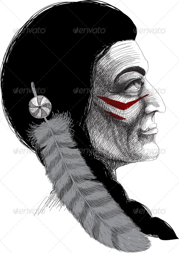 Portrait of an Indian Warrior - Characters Vectors