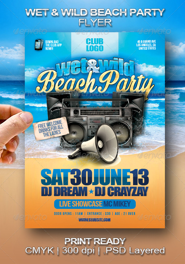 Wet & Wild Beach Party Flyer - Clubs & Parties Events
