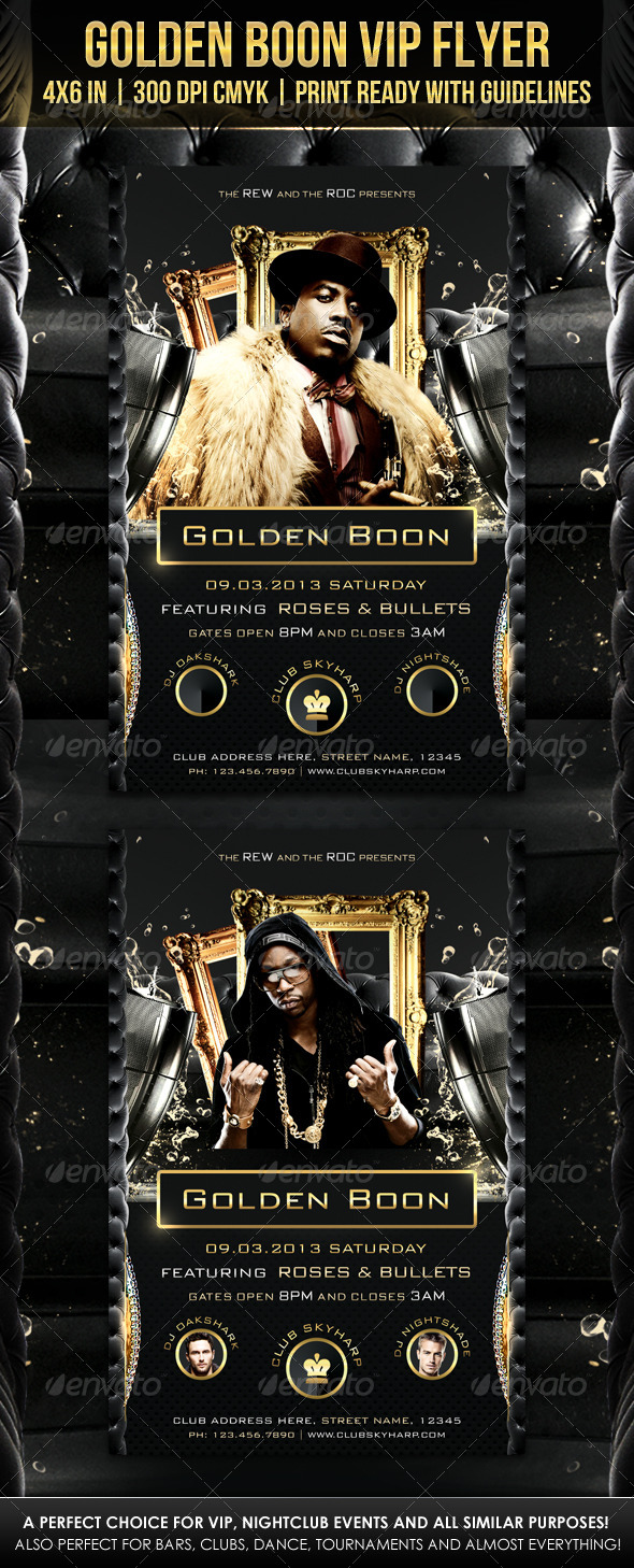 Golden Boon VIP Flyer - Clubs & Parties Events