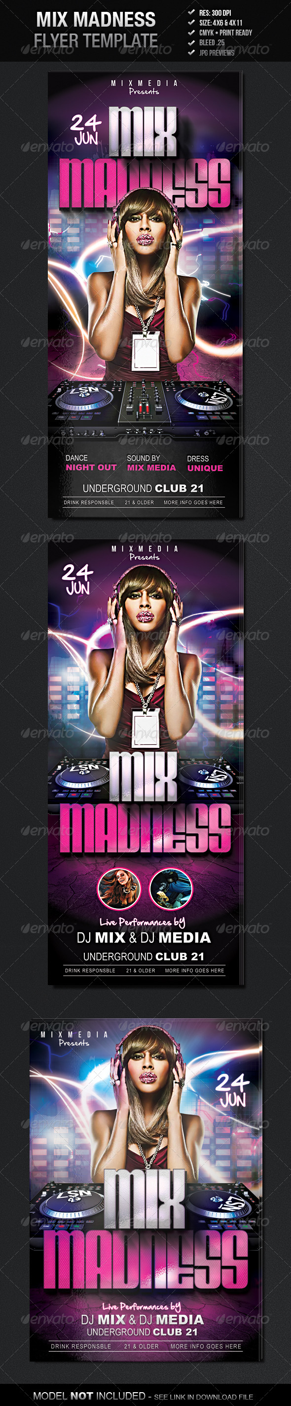 Mix Madness Flyer Template - Clubs & Parties Events