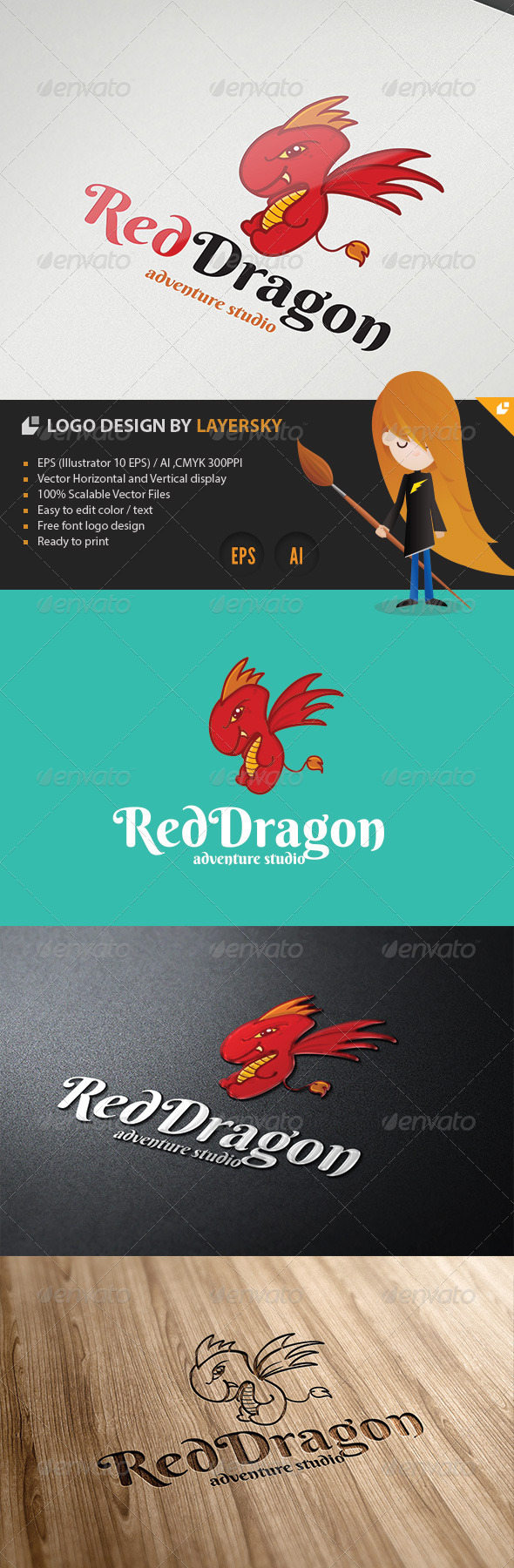 Red Dragon Logo - Animals Logo Templates