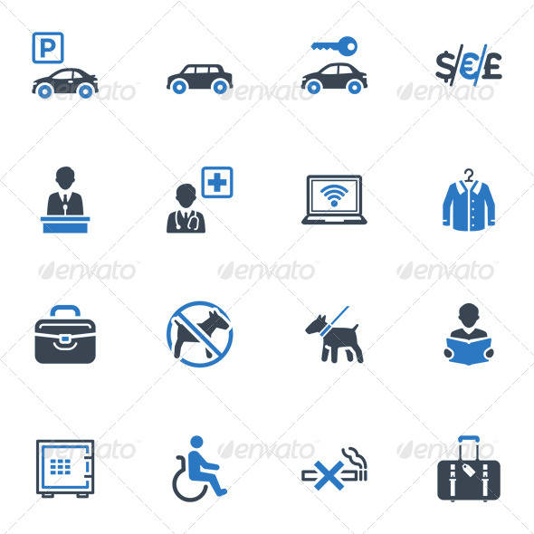 Hotel Services and Facilities Icons, Set 1 - Blue - Icons
