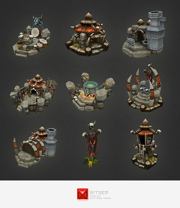 Low Poly RTS Orc Building Set - 3DOcean Item for Sale