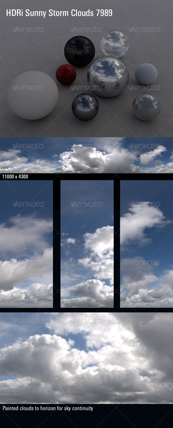 HDRi Sky Sunny Storm Clouds 7989 - 3DOcean Item for Sale
