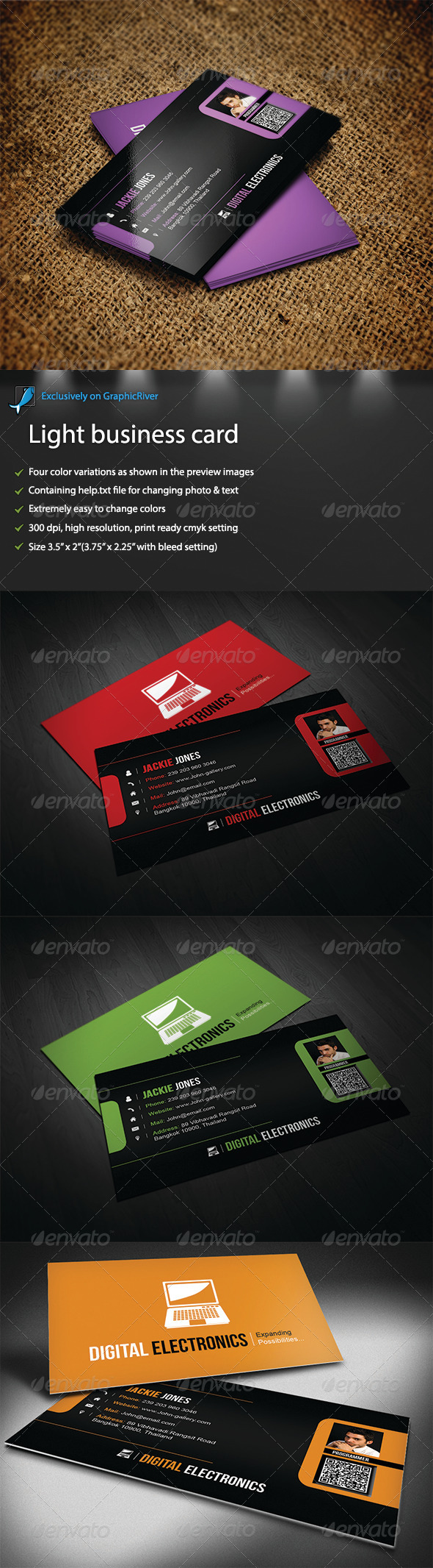 Light business card - Business Cards Print Templates