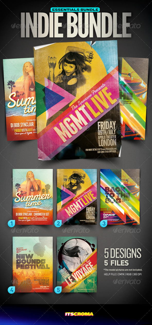 Indie Flyer Vintage Bundle | 003 - Clubs & Parties Events