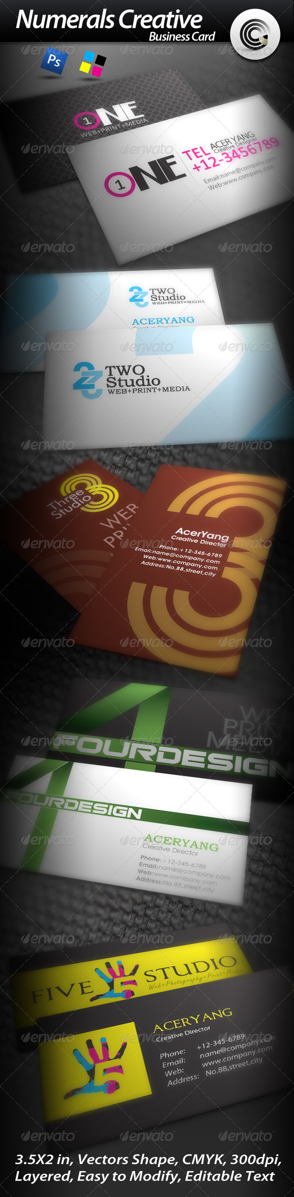 5 Sets Numerals Creative Business Card - Corporate Business Cards