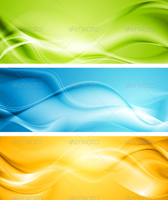 Elegant Smooth Waves Vector Banners - Backgrounds Decorative
