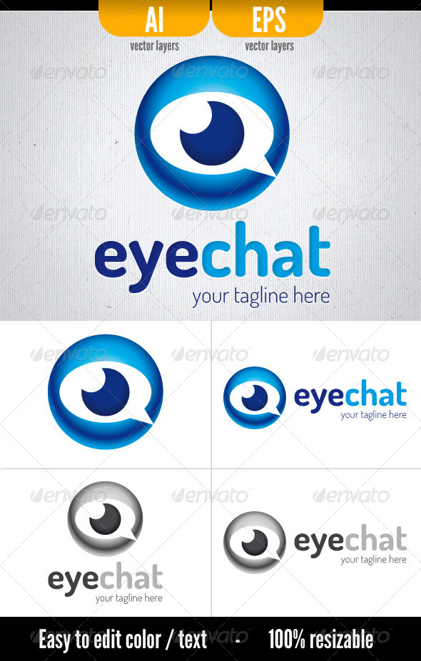 Eye Chat - Symbols Logo Templates