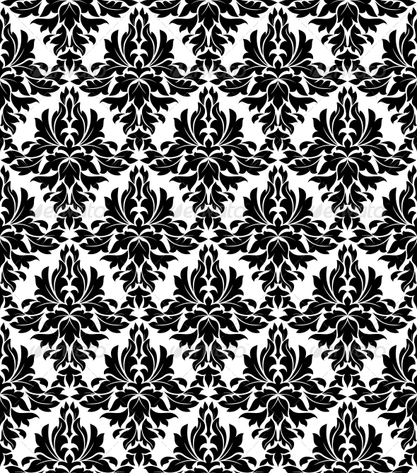 Seamless Background in Retro Damask Style - Patterns Decorative