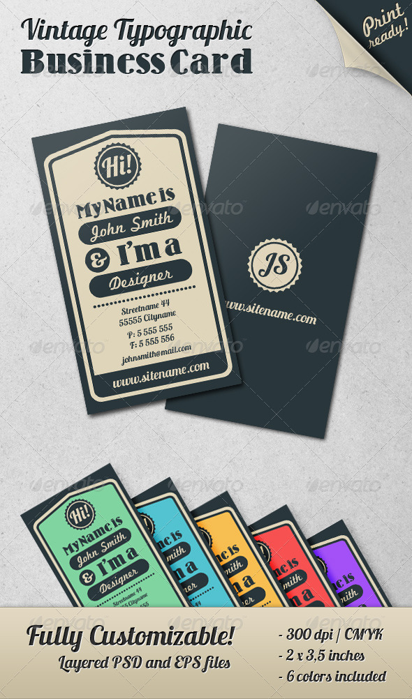 Vintage Typographic Business Card - Retro/Vintage Business Cards