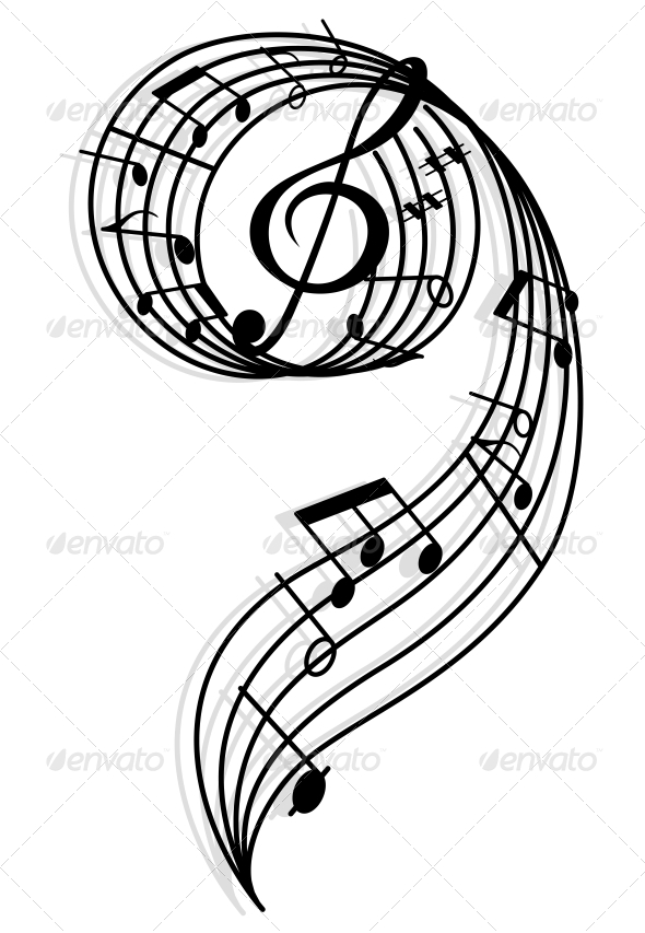Musical Curly Elements with Clef and Notes - Miscellaneous Vectors
