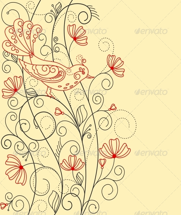 Abstract Floral Background with Bird - Flowers & Plants Nature