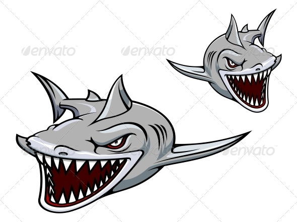 Gray Shark Mascot - Monsters Characters