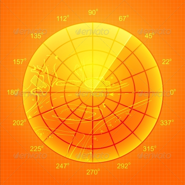 Orange Radar Screen. - Abstract Conceptual