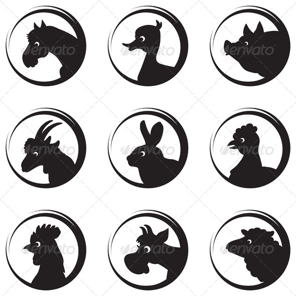 Farm Animals Silhouette Icon Set - Animals Characters