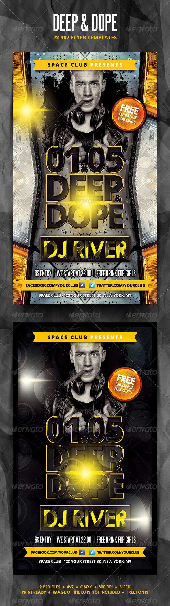 Deep and Dope Party Flyers - Clubs & Parties Events