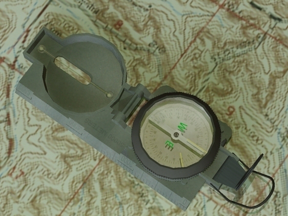 Lensatic Compass - 3DOcean Item for Sale