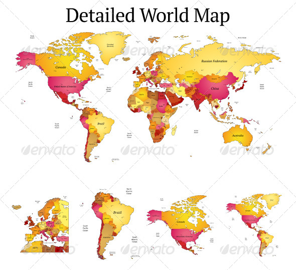 Detailed vector world map by ildogesto graphicriver detailed vector world map miscellaneous vectors gumiabroncs Choice Image