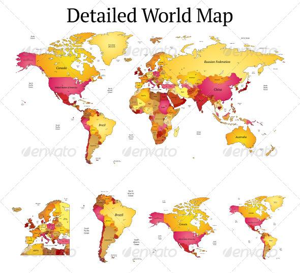 Detailed Vector World Map - Miscellaneous Vectors