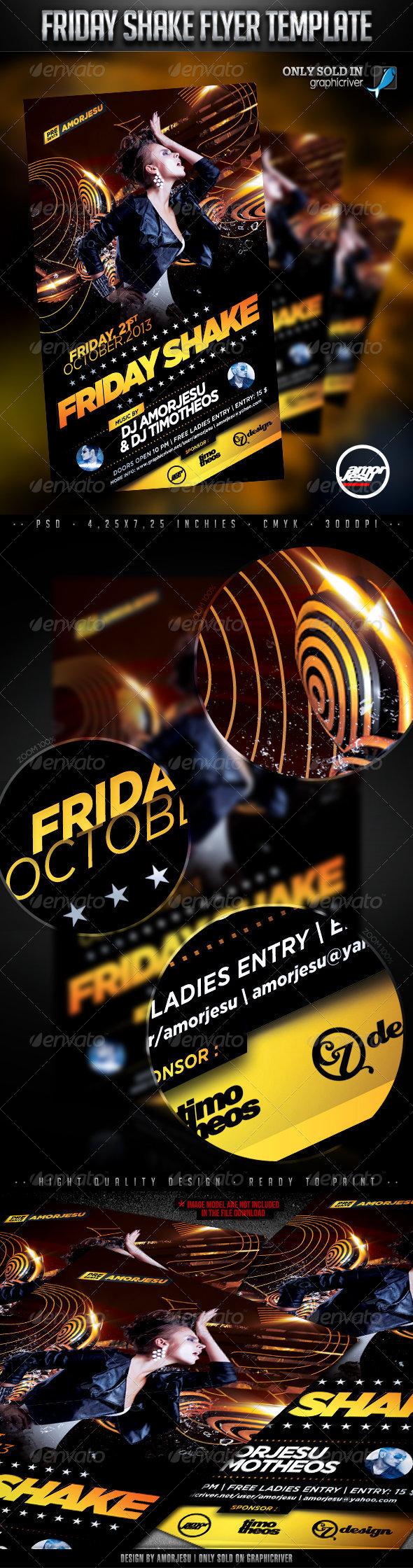 Friday Shake Flyer Template - Clubs & Parties Events