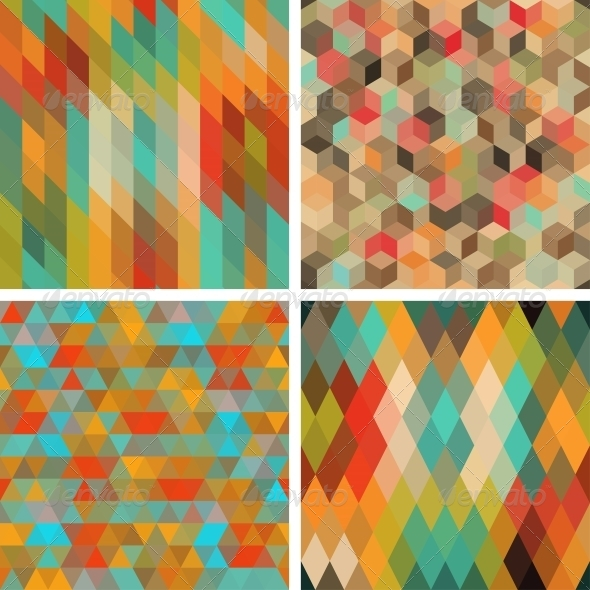 Seamless Abstract Geometric Patterns Set. - Backgrounds Decorative