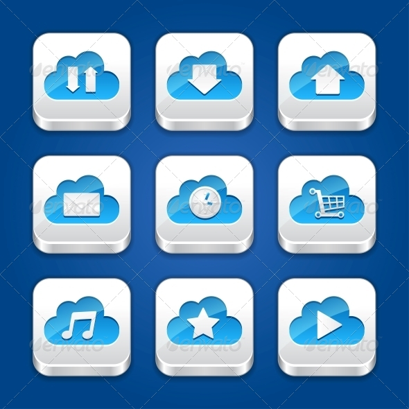 Collection of Icons with Clouds. - Computers Technology