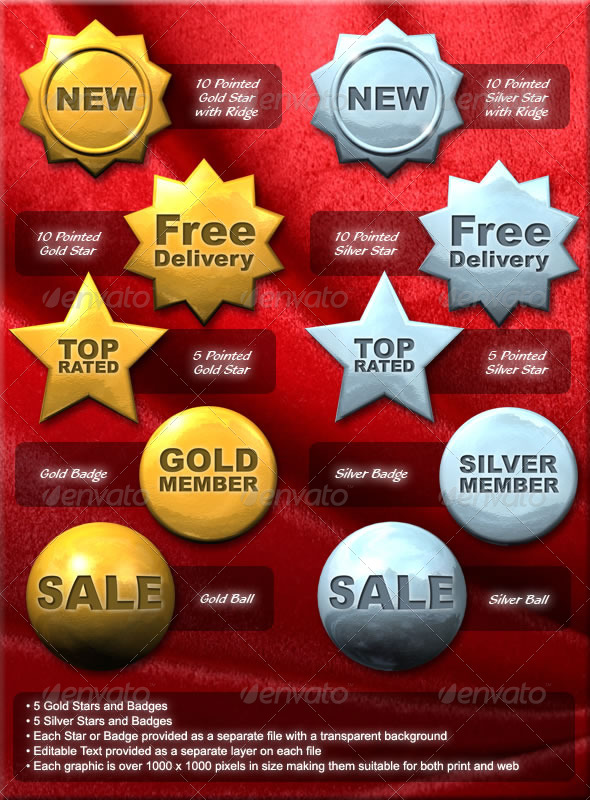 Gold and Silver Stars and Badges - Badges & Stickers Web Elements