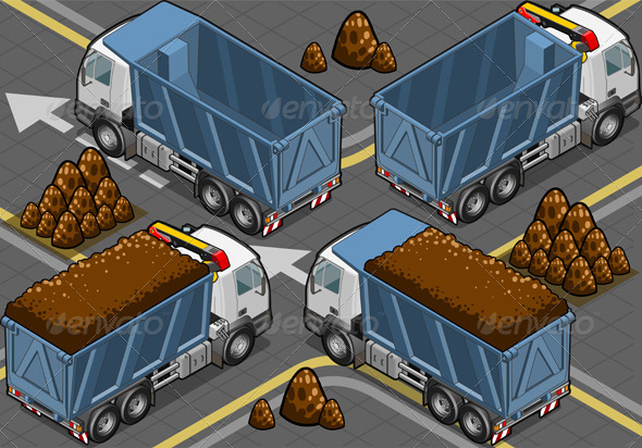 Isometric Containers Trucks in Rear View - Objects Vectors