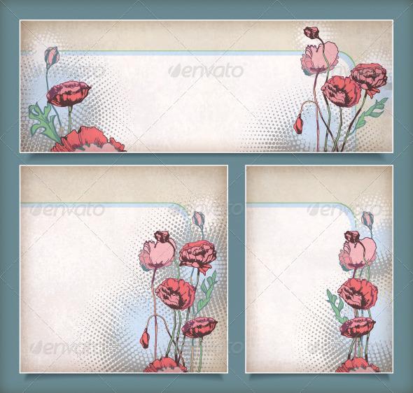 Set of Vintage Flower Banners  - Flowers & Plants Nature