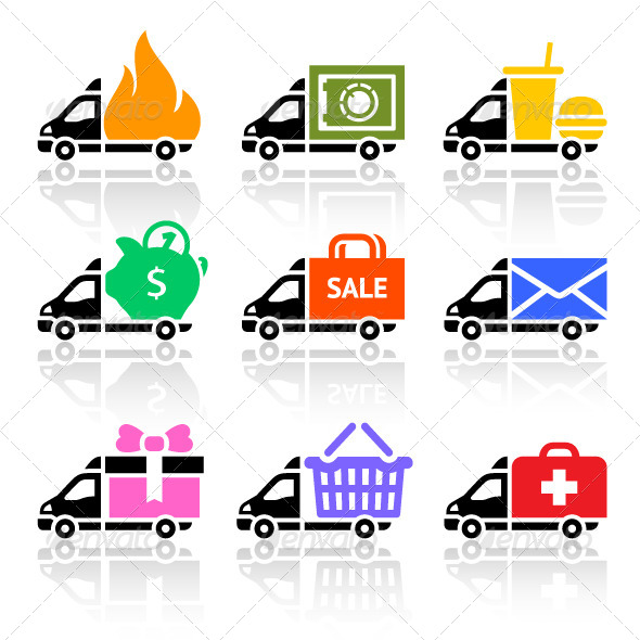 Delivery Cargo Trucks, Colored Icons Set - Commercial / Shopping Conceptual