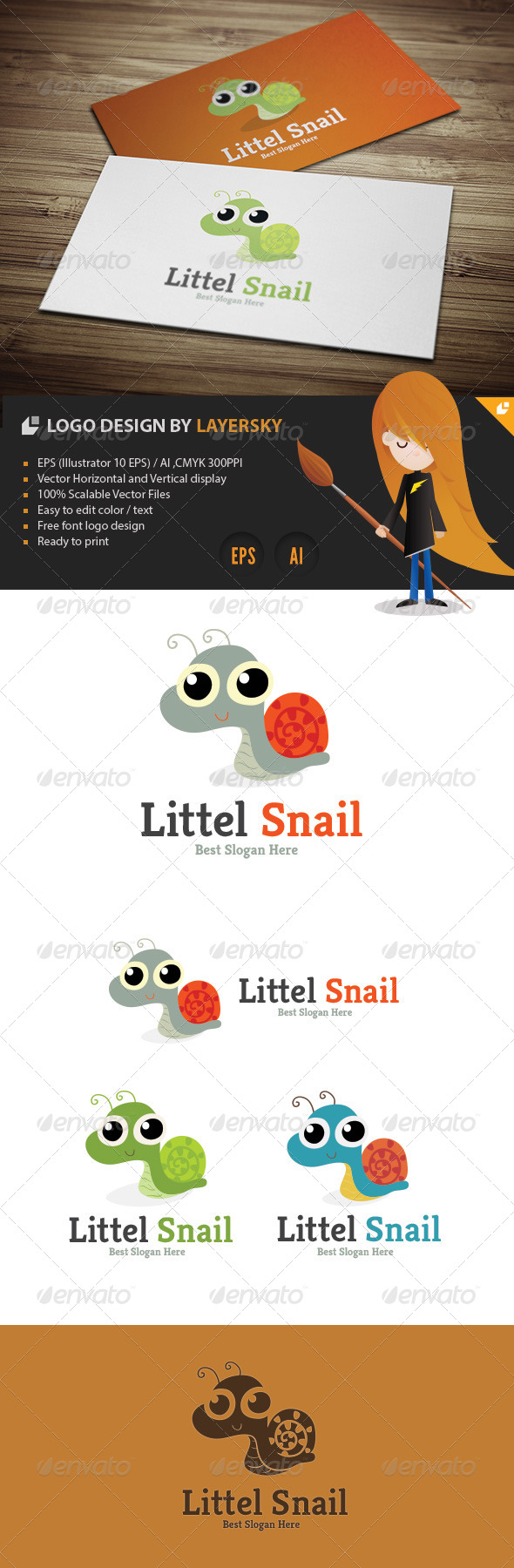 Little Snail Logo - Animals Logo Templates