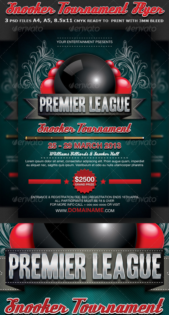 Snooker Flyer Template by Hotpin – Competition Flyer Template