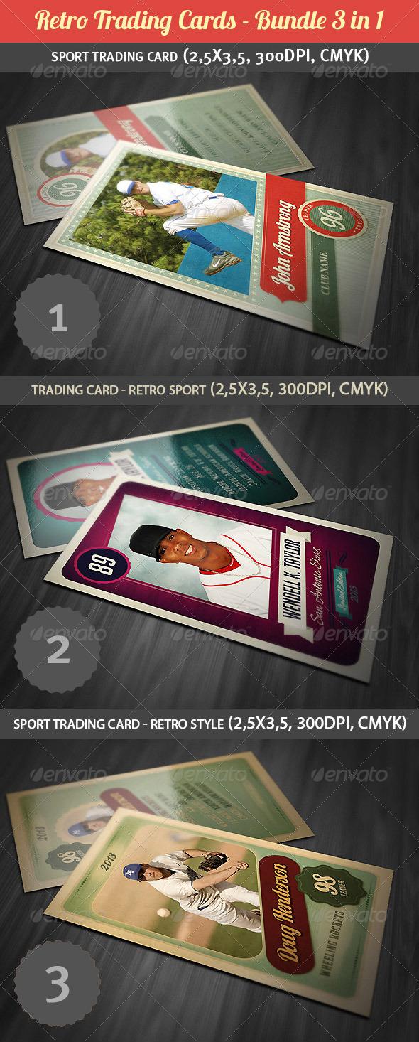 Retro Trading Cards Bundle - Miscellaneous Print Templates