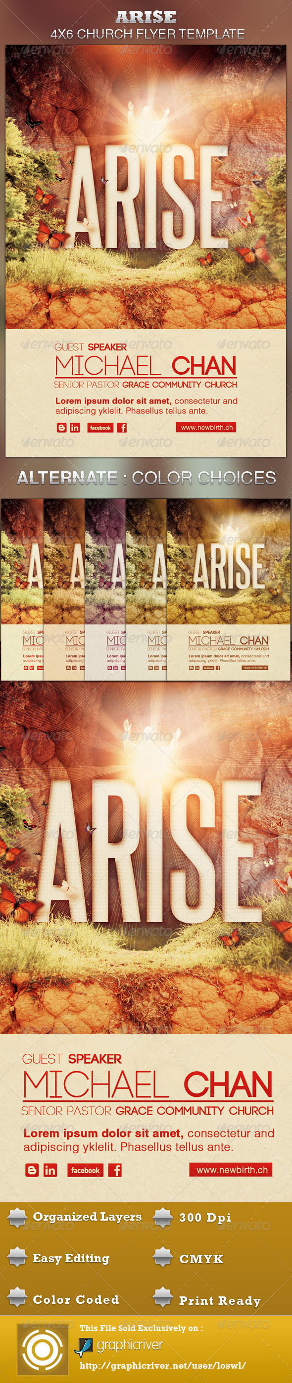 Arise Church Flyer Template - Church Flyers