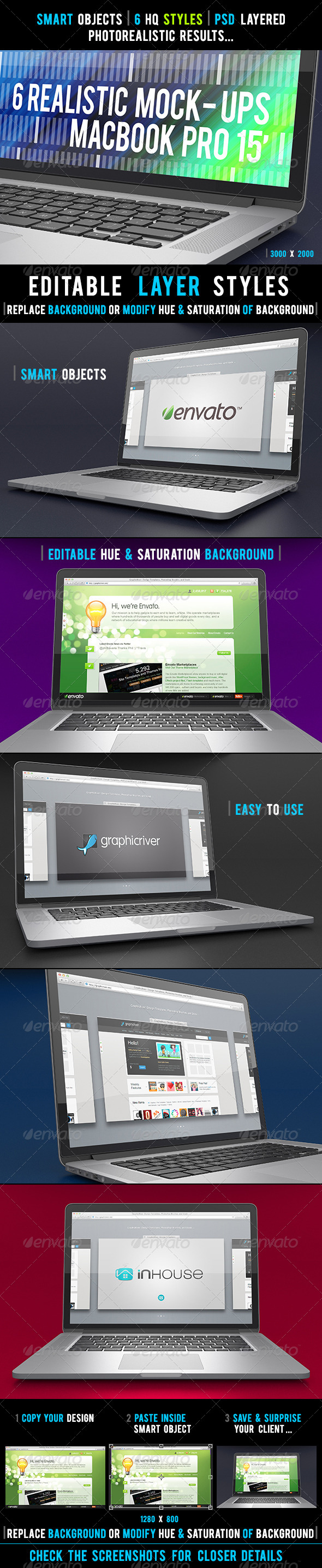 6 Realistic Laptop Mock-Ups - Laptop Displays
