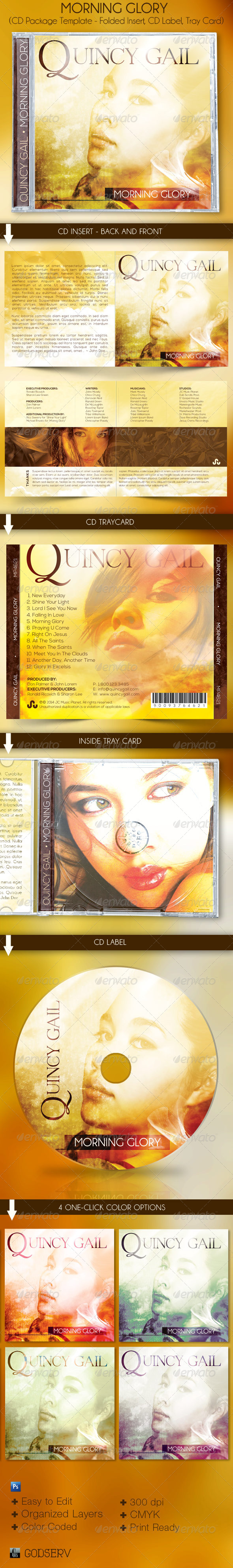 Morning Glory CD Artwork Template - CD & DVD Artwork Print Templates