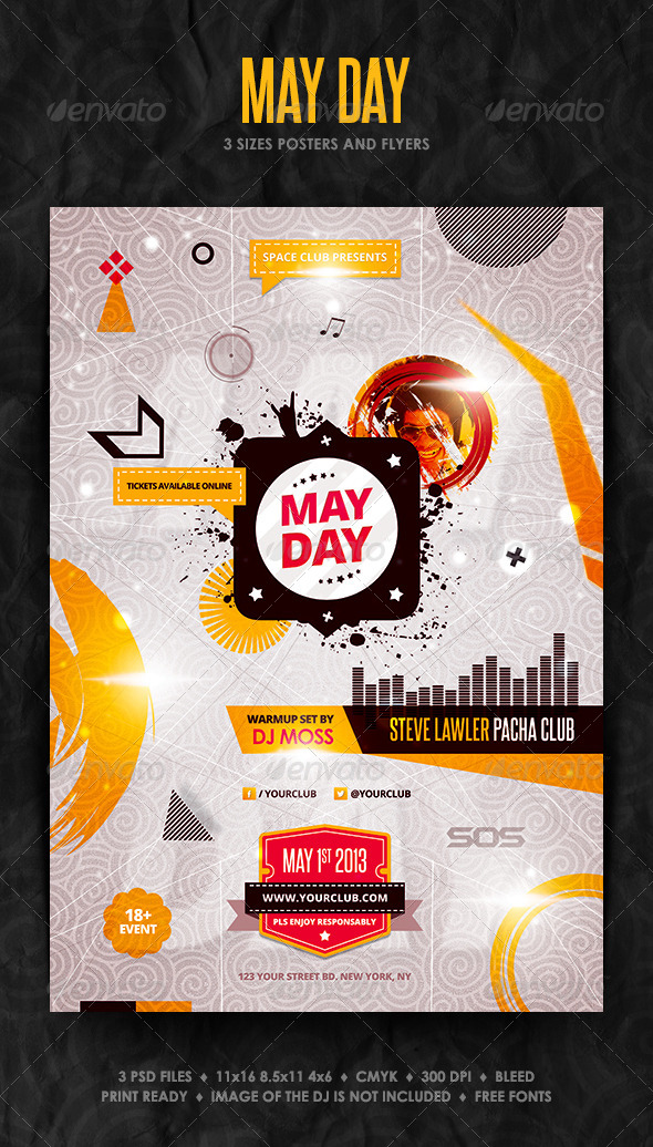 May Day Posters and Flyer - Clubs & Parties Events