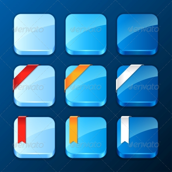 Set of Icons with Ribbons and Banners - Web Technology