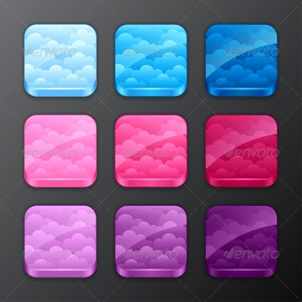 Set of Backgrounds with Clouds - Web Technology