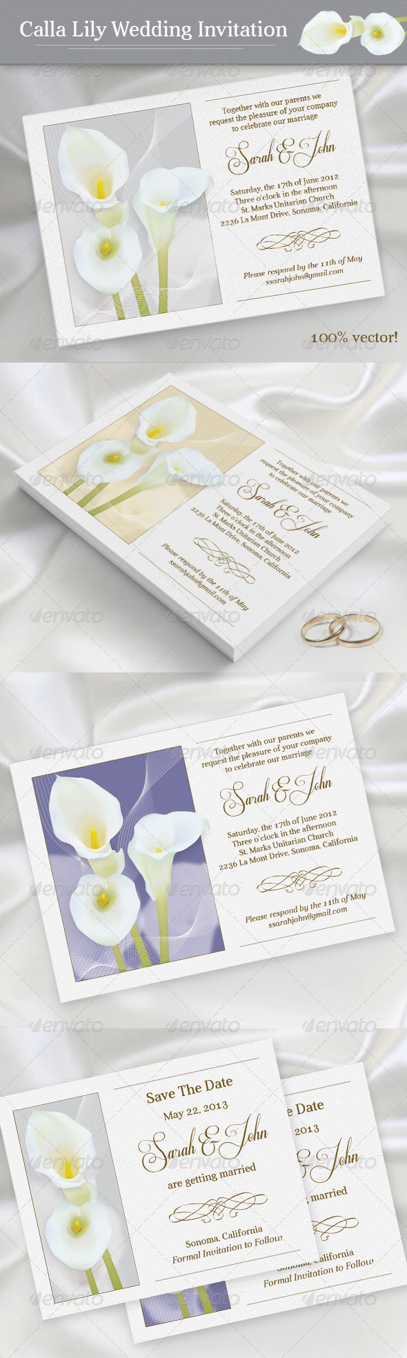 Calla Lily Wedding Invitation - Weddings Cards & Invites